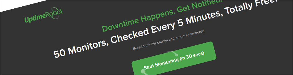 Monitor your website uptime every 5 minutes for free